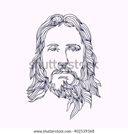 graphical face of Jesus .Face of Jesus. Hand drawn art.
