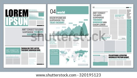 Graphical layout modern green newspaper template