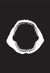 Graphical megalodon Jaw silhouette, shark jaw isolated on black background,vector sketch