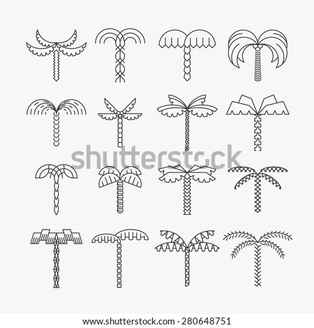 graphical palm tree set  linear