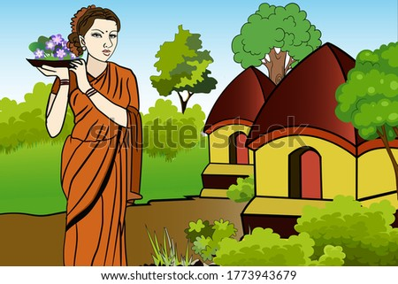 Graphical presentation of a Indian woman walking through the streets in a village carrying some flowers. Vector flat style