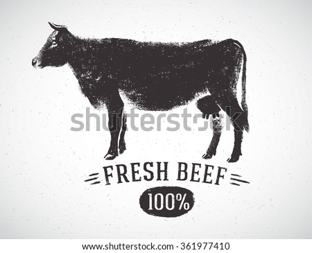 graphical silhouette cow and