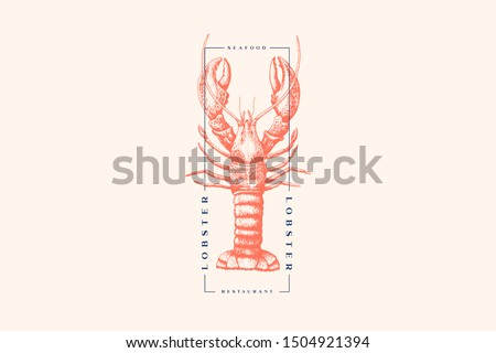 Graphically drawn lobster. Hand-drawn retro logo with sea animal in the style of engraving. Can be used for menu restaurants, fish markets and in stores. Vector vintage illustration. Сток-фото ©
