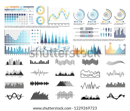 Graphics and flowcharts, schemes and charts set vector. Monochrome sketches outline of infocharts and infographics. Pie diagrams and numbers figures