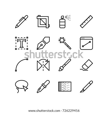 Graphics design tool icon set