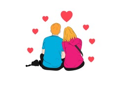 graphics drawing couple boy and girl sit and heart around on white background concept romantic couple valentineday