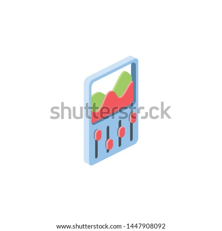 Graphics filter, settings chart. Vector 3d isometric, color web icons, new flat style. Creative illustration, idea for infographics.