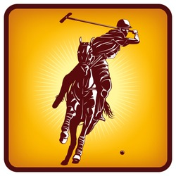 Graphics icon of a polo player and horse