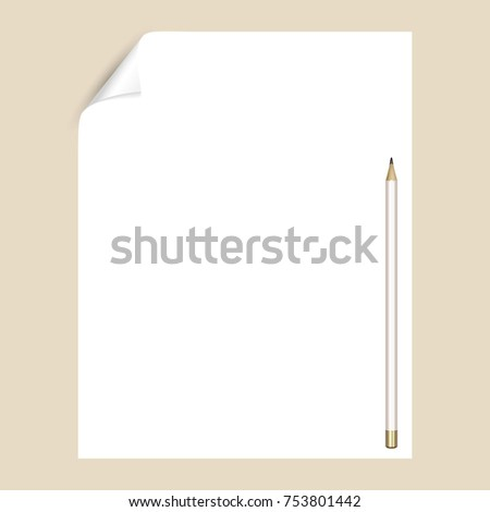 Graphite pencil on a white sheet of writing paper with a curved corner. An empty paper page for drawing or writing with a pencil. Mockup with stationery
