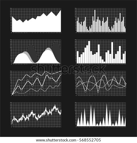 Graphs and charts set. Statistic and data, information infographic, vector illustration