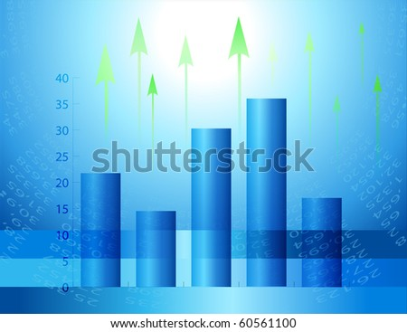 Graphs and figures showing an increase. Abstract economic charts.