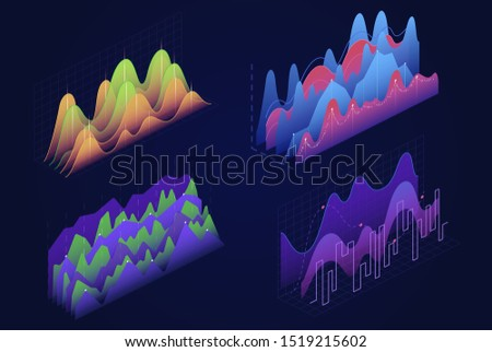 Graphs, charts isometric vector illustrations set. Business infographic elements pack. Financial diagrams, infocharts, statistical data analysis visualization. Report, presentation 3d cliparts