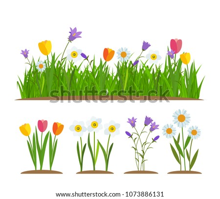Grass and flowers border, greeting card decoration element White Background. Vector Illustration. EPS10 #1073886131