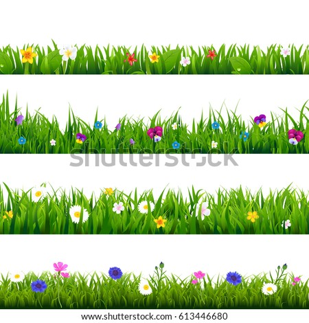 grass and flowers border set