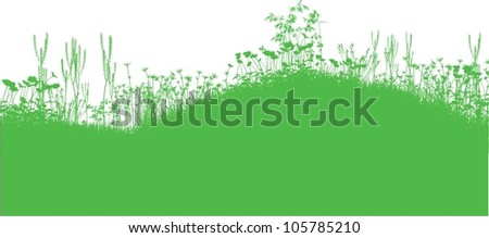 Grass and flowers silhouette - stock vector