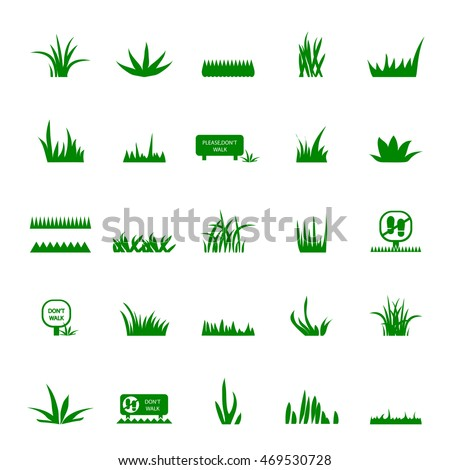 Grass And Signs Icons Set - Isolated On White Background. Vector Illustration, Graphic Design. For Web, Websites, Print