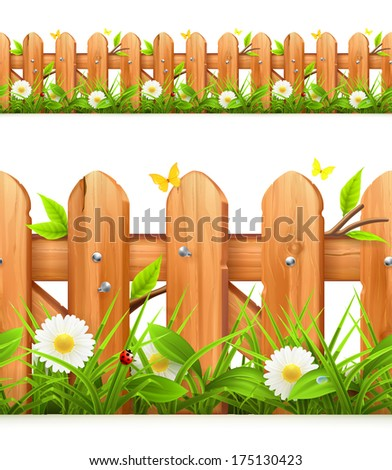 grass and wooden fence seamless