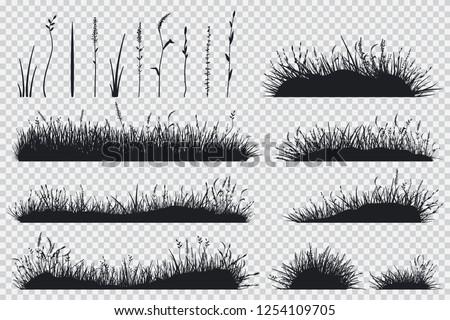 grass black silhouette vector