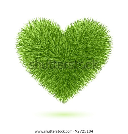 Grass heart symbol. Vector.