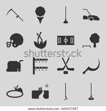 grass icons set set of 16