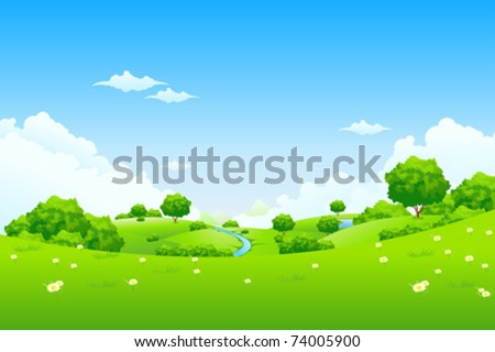 Grass Landscape with Sky Trees Clouds Flowers and Mountains