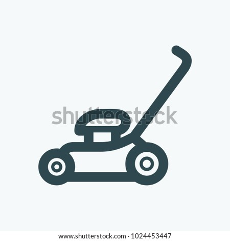 Grass lawn mower vector icon