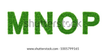 Grass letter Collection. M, N, O, P Isolated from white .Eco symbol . The green lawn background. Vector illustrations