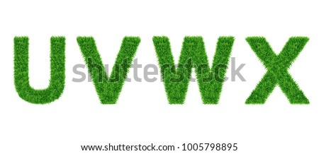 Grass letter Collection. U, V, W, X Isolated from white .Eco symbol . The green lawn background. Vector illustrations