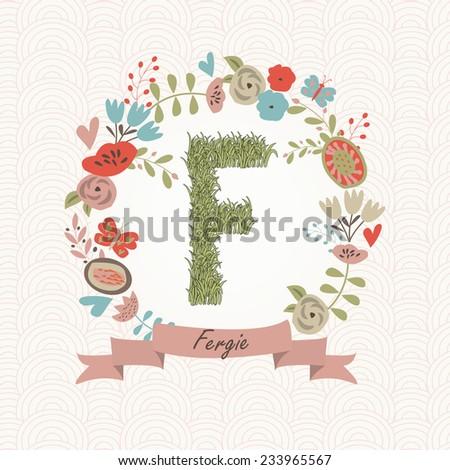 grass letter f in floral frame
