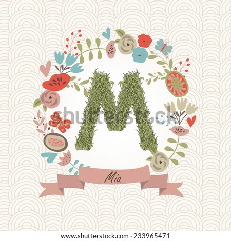 Grass letter M in floral frame. Mia - name that starts with M. Stock fotó ©