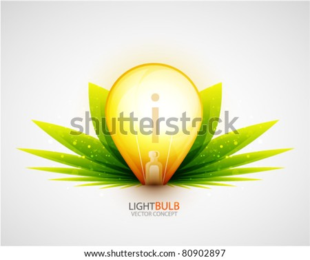 Grass light bulb concept. Vector symbol