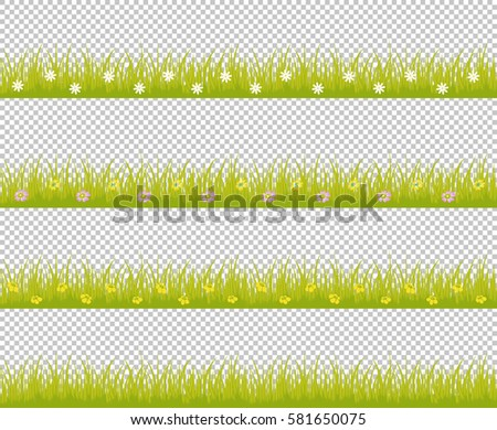 Grass line seamless set with variegated colorful flowers isolated on checkered background use for web site design, decoration, textile and other. Vector Illustration