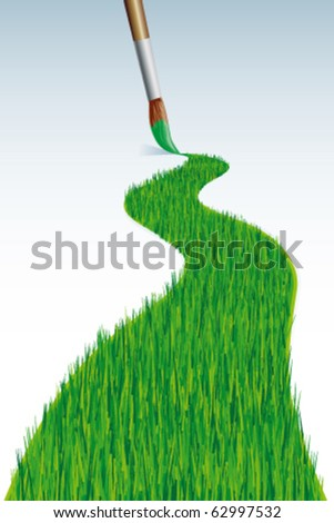 Grass line with brush