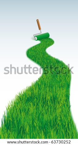 Grass line with  paint roller