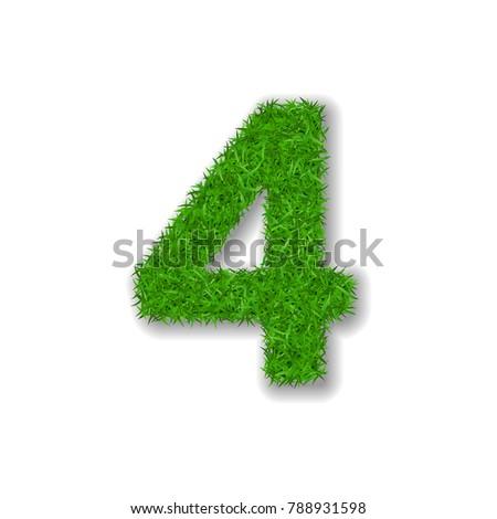 grass number four green 3d