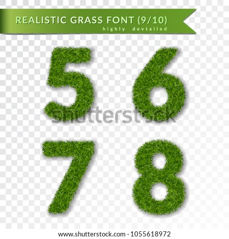 grass numbers 5 6 7 8 green