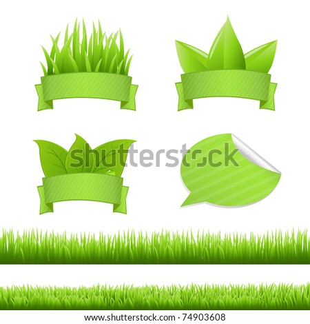 grass set  isolated on white