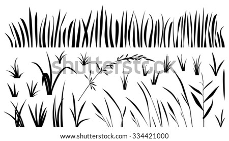 grass silhouettes on the white