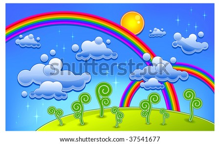 Grass, trees and two rainbow, cartoon landscape, vector illustration