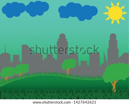 Grass, trees, city, horizon line, clouds, sun and hill