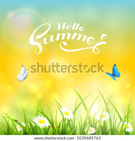 grass with flowers and text
