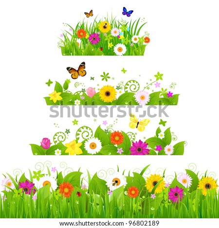 Grass With Flowers Set, Vector Illustration - stock vector