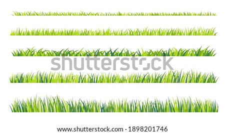 Grassland border vector patternGreen lawn in spring The concept of caring for the global ecosystem