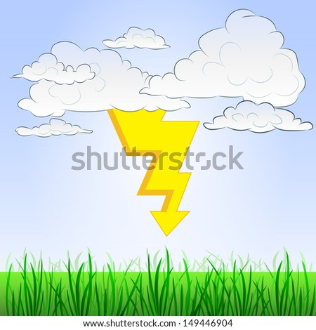 grassy landscape with summer thunderstorm and sky vector illustration