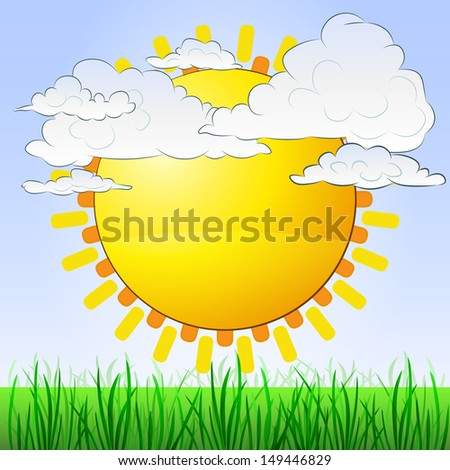 grassy landscape with sun and cloudy sky vector illustration