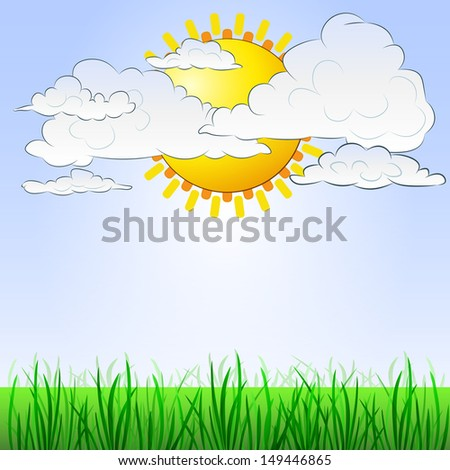 grassy landscape with sun behind cloudy sky vector illustration