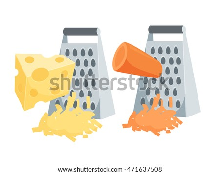 Grate set. Grated carrots and cheese. Cooking process vector illustration. Kitchenware and utensils isolated on white.