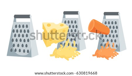 Grate set. Grated carrots and cheese process vector illustration. Kitchenware and cooking utensils isolated on white.