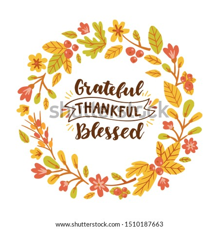 Grateful Thankful Blessed. Floral round frame. Hand drawn illustration with hand lettering. Сток-фото ©