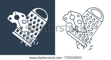 Grating cheese icon in line style isolated on white background. Pizza and pizzeria symbol  vector illustration.